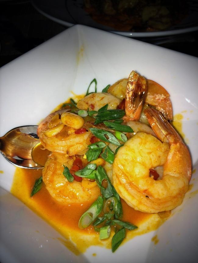Gambas al Ajillo: spicy garlic shrimp, white wine, chile de arbol, scallions, olive oil