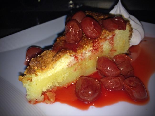 Pastel de Almendra: spanish almond cake with local cherries