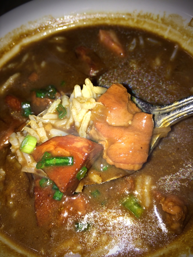 Gumbo: Chicken and Andouille with Toasted Garlic French Bread