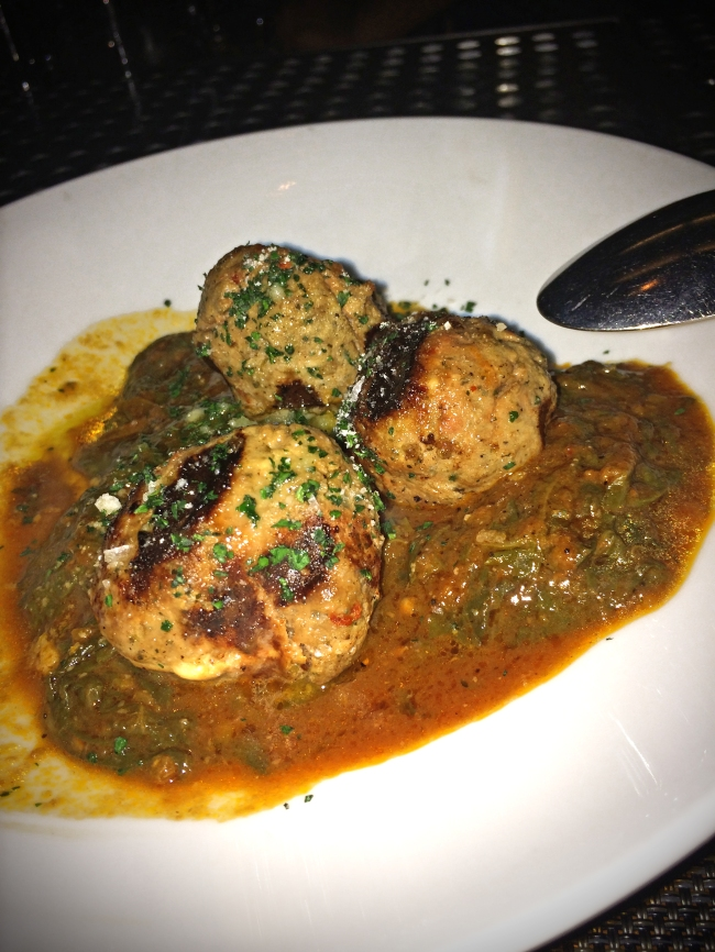 Grilled Beef Meatballs. braised beet greens. soffritto. tomatoes.