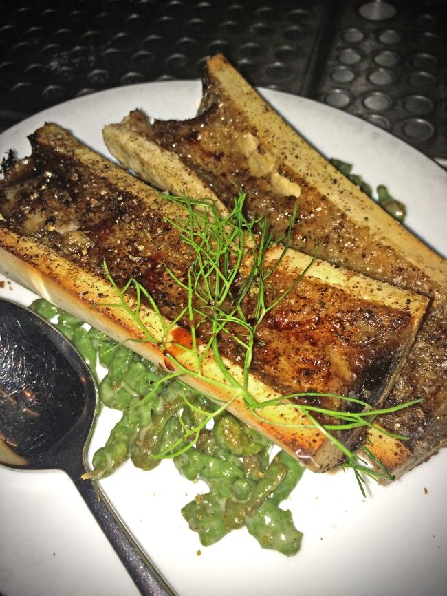 Roasted Marrow Bone. spinach gnocchetti. crispy breadcrumbs. aged balsamic.