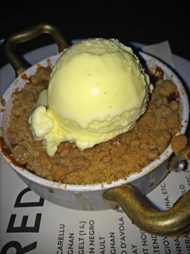 Peach Crisp. walnut crumble. buttermilk ice cream
