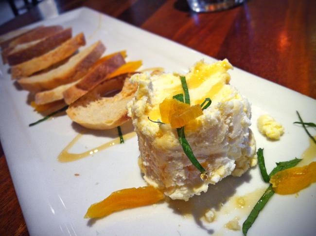 """Saved the Farm""  Goat Cheese with Apricot & Honey, Drake family farms fresh chevre, crostini"