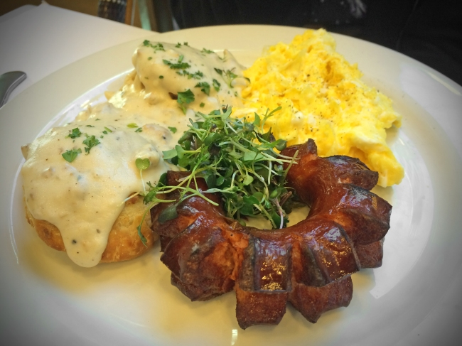Latoya's Buttermilk Biscuits fresh pork sausage link, country sausage gravy, yard eggs