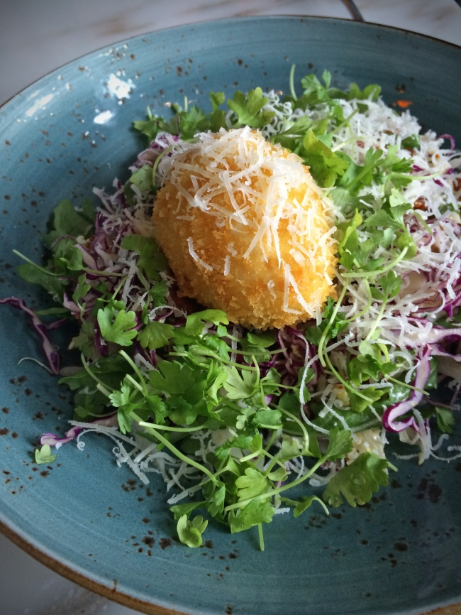 Crispy Egg & Applewood Bacon Salad: cabbage,pecans, honey mustard, manchego