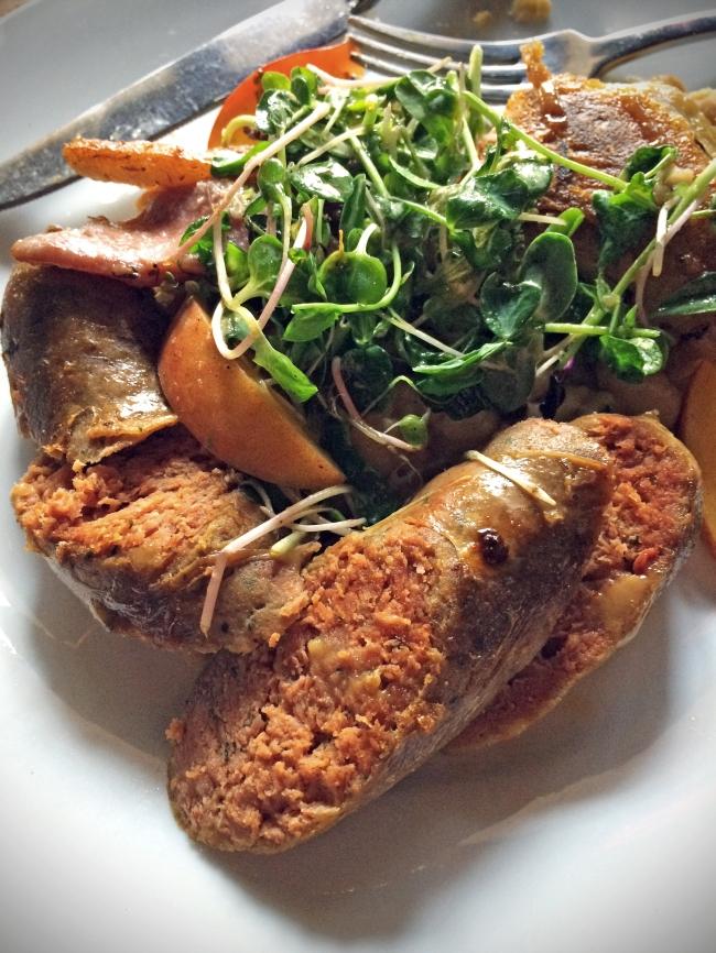 Confit Duck Leg & Grilled Sausage stewed white beans, bourbon mustard
