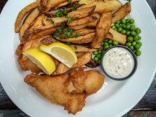 Fish and Chips made with Ale Battered Pacific Cod, English Style Chips and Peas